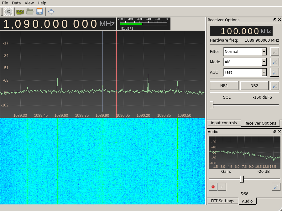 Gqrx tuned to 1090 MHz